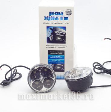 Фары диодные KS-020-2 ходовые огни, 4 SMD,хром, провода_
