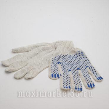 Перчатки ХБ с ПВХ 3 нити (бел+точка+бел оверлок)