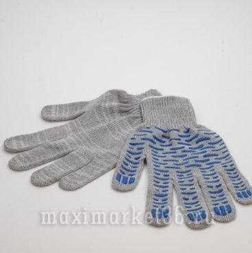 Перчатки ХБ с ПВХ 4 нитей (сер+протект+бел