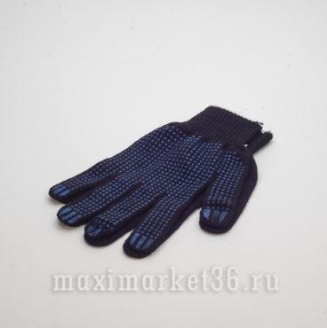 Перчатки ХБ с ПВХ 4 нити (чёрн+точка+бел оверлок)