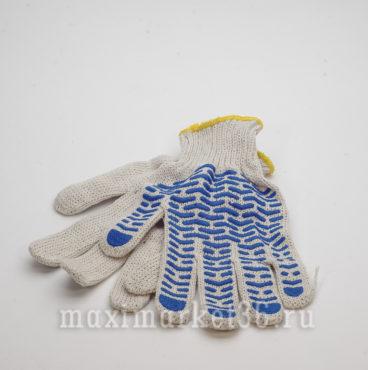 Перчатки ХБ с ПВХ 6 нитей (бел+протект+жёлтоверлок)