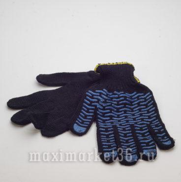 Перчатки ХБ с ПВХ 6 нитей (чёрн+протект+жёлтоверлок)