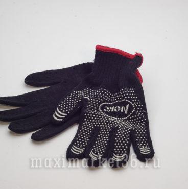 Перчатки ПВХ ЛЮКС чёрные с шерстяной ниткой