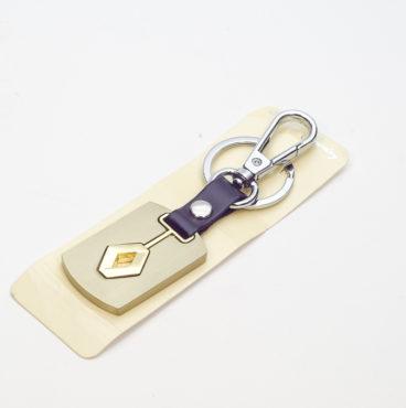 Брелок 002 на ключ металлический ЗОЛОТО на кожаной подвеске с объёмным логотипом RENAULT (0734)