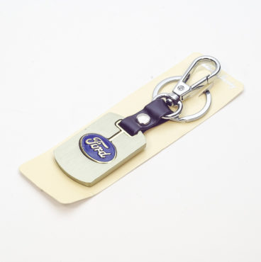 Брелок 009 на ключ металлический ЗОЛОТО на кожаной подвеске с объёмным логотипом FORD (0970)