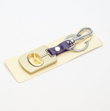 Брелок 016 на ключ металлический ЗОЛОТО на кожаной подвеске с объёмным логотипом MAZDA (1090)