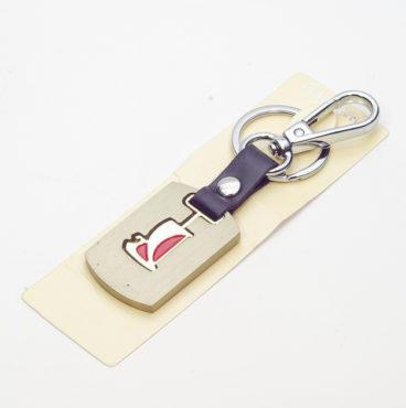 Брелок 018 на ключ металлический ЗОЛОТО на кожаной подвеске с объёмным логотипом VAZ (1113)