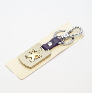 Брелок 019 на ключ металлический ЗОЛОТО на кожаной подвеске с объёмным логотипом PEUGEOT (1120)