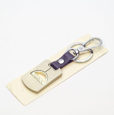 Брелок 021 на ключ металлический ЗОЛОТО на кожаной подвеске с объёмным логотипом MAN (1144)