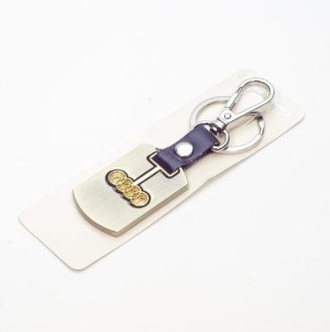 Брелок 023 на ключ металлический ЗОЛОТО на кожаной подвеске с объёмным логотипом AUDI (1175)