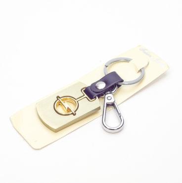 Брелок 025 на ключ металлический ЗОЛОТО на кожаной подвеске с объёмным логотипом OPEL (1229)