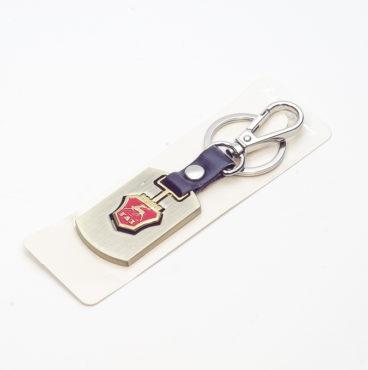Брелок 026 на ключ металлический ЗОЛОТО на кожаной подвеске с объёмным логотипом GAZ (0789)