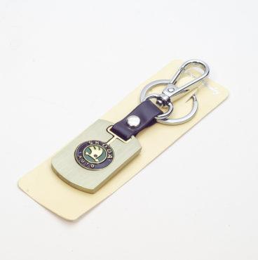 Брелок на ключ металлический ЗОЛОТО на кожаной подвеске с объёмным логотипом SKODA (0710)