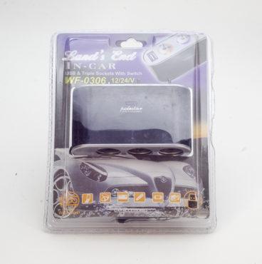 Разветвитель в прикуриватель 002 3 гнезда +USB WF-0306 c переключателями 3512