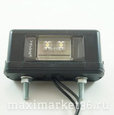 Фонарь подсветки номерного знака LED чёрный прямоугольный (2 диода) 12 V24V DA-01892
