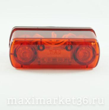 Фонарь подсветки номерного знака LED красный,прямоугольный задный габарит(4 диода) 12 V24V DA-01893