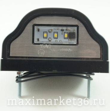 Фонарь подсветки номерного знака LED ,волна,чёрная 3 диода 12V24V DA-01890
