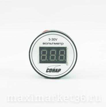 Вольтметр автомобильный круглый герметичный ,крепление --винты АВРОРА 3-30V (СОНАР)