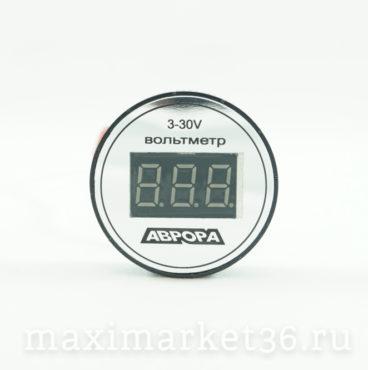 Вольтметр автомобильный круглый ,крепление -скотч АВРОРА 3-30V