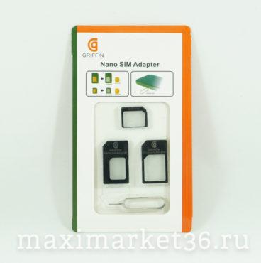 Адаптер для НАНО и Микро симкарт памяти GRIF (белый-1495 чёрный-1396)