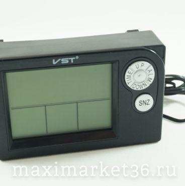 Часы VST-7048V автомобильные+термотетр+вольтметр+темп. за бортом(вместо штатных часов 2110)