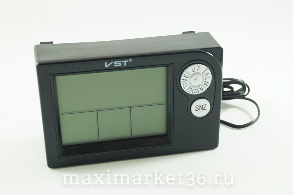 Часы VST-7048V автомобильные+термотетр+вольтметр+темп. за бортом(вместо  штатных часов 2110) 034d02d8ed8