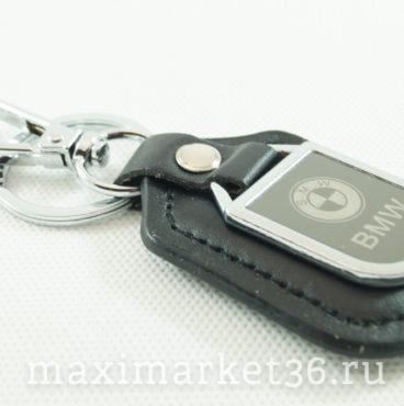 Брелок на ключ кожаный с металлич вставкой логотипа авто BMW