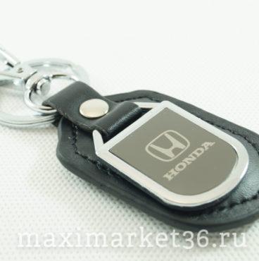 Брелок на ключ кожаный с металлич вставкой логотипа авто HONDA