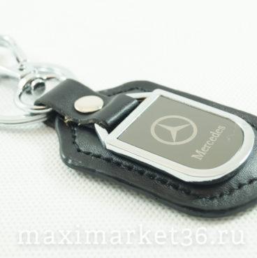 Брелок на ключ кожаный с металлич вставкой логотипа авто MERSEDES