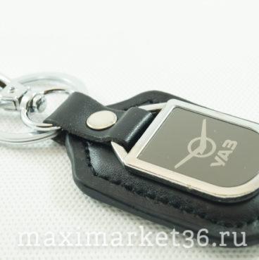 Брелок на ключ кожаный с металлич вставкой логотипа авто UAZ
