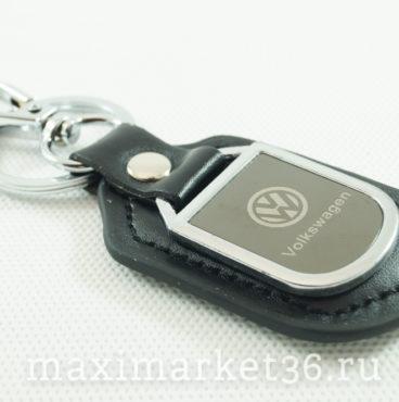 Брелок на ключ кожаный с металлич вставкой логотипа авто VOLKSWAGEN