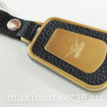 Брелок на ключ металлический с кожаной вставкой и логотипом авто UAZ