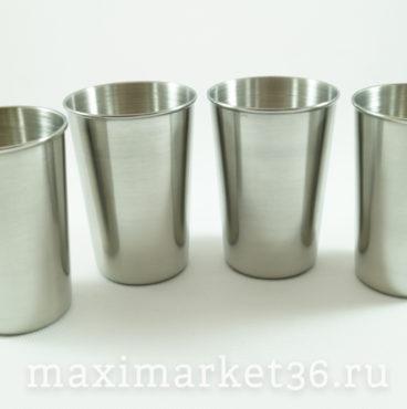 Набор стаканов (4шт) в чехле (нержавейка) БОЛЬШИЕ 150мл