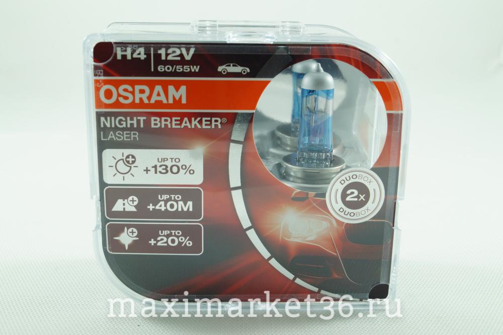 Автолампа H4 (12-6055) P43t-38 +130% NIGHT BREAKER LASER(евробокс, 2шт) 12V OSRAM 64193NBL-HCB472N