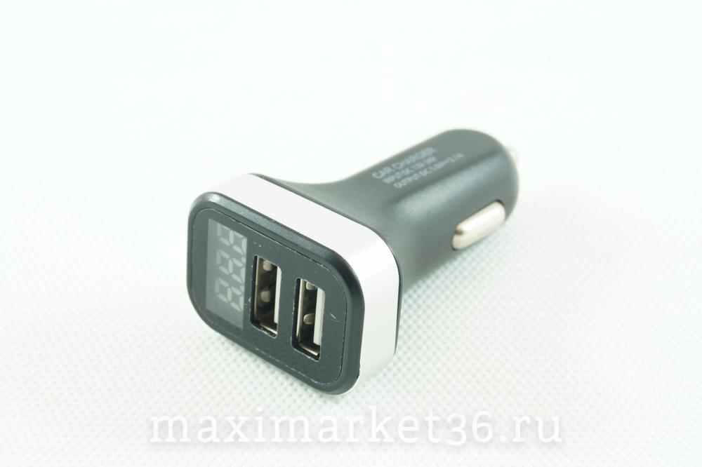 Штеккер прикуривателя с 2 USB(1,1А. 2,1А) + цифровой вольтметр (типа Радуга)