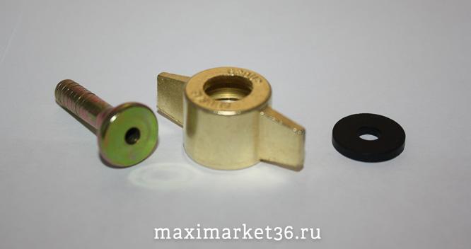 Барашек (бочонок + прокладка) шланга подкачки металл.(ресивера) 6мм 0501