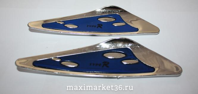 Спойлер  дворника  декоративный 2 цвета (синий+хром) (с металлич вставкой)