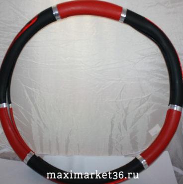 Оплётка руля грузовая 45 см кож зам ЭКО красн строчка