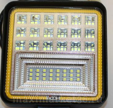 Фара диодная-ходов. огни 42 LED (3W)--126W (КВАДРАТНАЯ) с ГАБАРИТНОЙ ЖЁЛТ. ПОДСВЕТ PR-1117